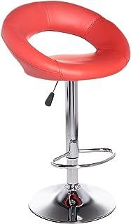 كرسي بار بذراعين قابل للتعديل - احمر