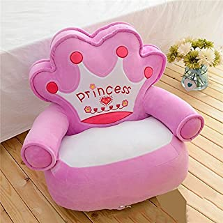 Wood customization Baby Kids Only Cover Filling Cartoon Crown Seat Children Chair Neat Puff Skin Toddler Children Cover for Sofa Best Gifts 3