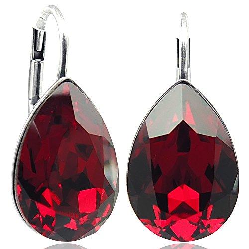 Ohrringe mit Kristallen von Swarovski® Rot Silber NOBEL SCHMUCK