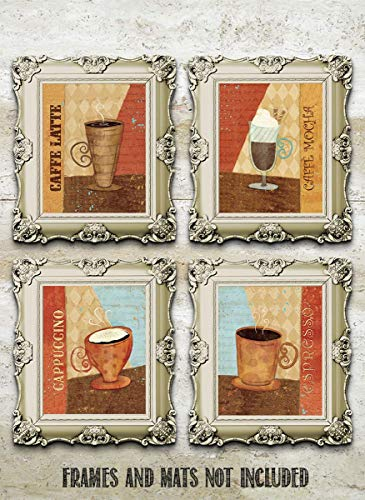 "Coffee Fine Art Wall Set of (4)- 8 x 10""s Wall Art Prints- Ready to Frame. Latte, Espresso, Cappuccino & Mocha Home Décor, Coffee Decor & Kitchen Wall Decor. Perfect For Coffee Lovers & Coffee Bars."