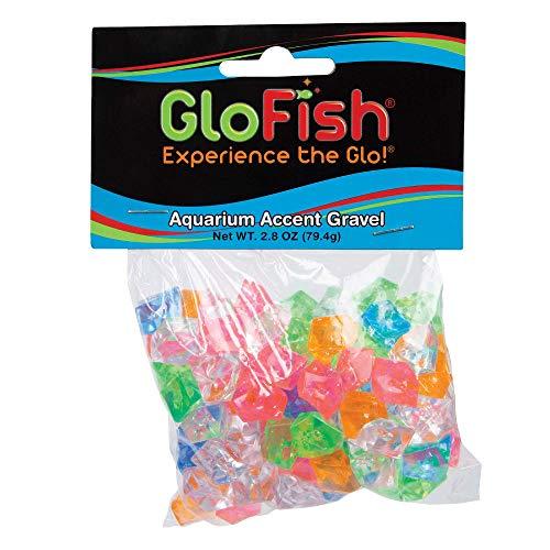 GloFish aquarium Accent Gravel 2.8 Ounces, MultiColored Gems, Complements GloFish Tanks