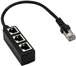 RJ45 Female 1 to 3Port Female Socket Adapter Interface, Gedun RJ45 Network Splitter Adapter, Ethernet Cable 8P8C Extender Plug, for Cat5, Cat5e, Cat6, Cat7 LAN Ethernet Socket Connector Adapter