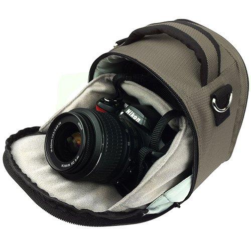 entry level slrs Entry Level Digital SLR & SLR Camera Case, Flip out design (SILVER Laurel Luxury Case) Guaranteed to fit Any DSLR & SLR Camera