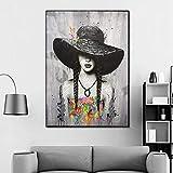 KWzEQ Imprimir en Lienzo Doodle Girl Poster andliving Room decoración del hogar70x90cmPintura sin Marco