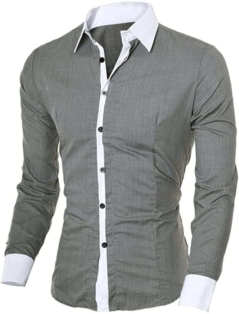 XXBR Shirts for Mens, 2021 Fall Button Down Long Sleeve Fashion Slim Fit Office Formal Business Casual Shirt Tops