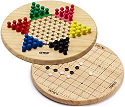 2-in-1 Wooden Chinese Checkers & Gobang (Five in a Row) Family Board Game Combo Set