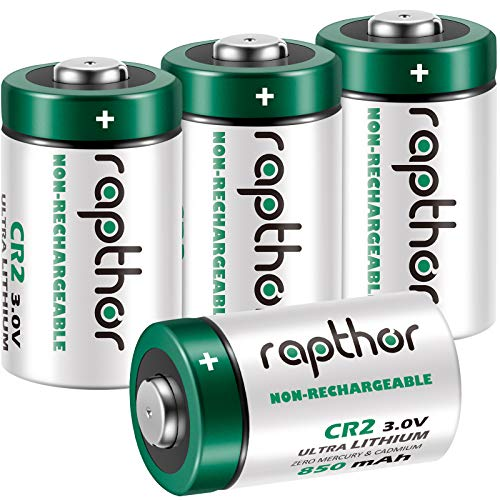 Rapthor CR2 Battery 3 Volt 850mAh High Power 4 Pack Non-Rechargeable Lithium Batteries 3V with PTC Protection for Flashlights Calculator Camera Clocks Toys Alarm Systems Golf Rangefinder (Pack of 4)