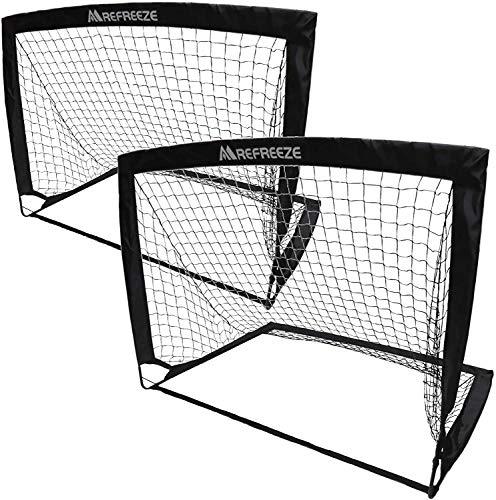 REFREEZE(リフリーズ) 折りたたみ サッカーゴール 2個セット 選べる3カラー フットサル ポータブル ポップアップ (ブラック)