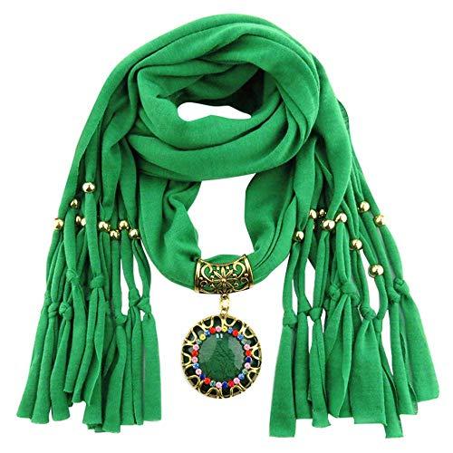 YEBIRAL Schal Damen Schal Anhänger Quaste Frauen Mode Accessoires Deckenschal Halstuch Schals(Grün)