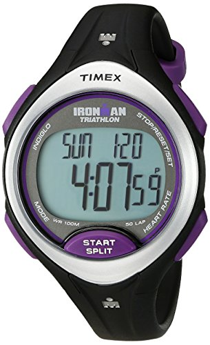 Timex Women's T5K723 Ironman Road Trainer Heart Rate Monitor Black/Silver-Tone/Purple Resin Strap Watch