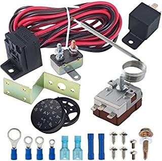 American Volt Adjustable Temperature Electric Radiator Fan Thermostat Sensor Switch Probe Controller Relay Wiring Kit