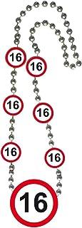 Halskette Medallion 70cm Verkehrsschild Zahl 18 Geburtstag Kette Party