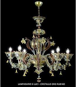 San Marco - Lámpara de araña de Murano (6 luces, cristal), color dorado