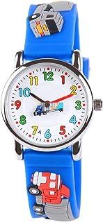 Venhoo Kids Watches Cute 3D Cartoon Waterproof Silicone Children Toddler Wrist Watch for 3-10 Year Boys Girls Little Child-Blue Truck