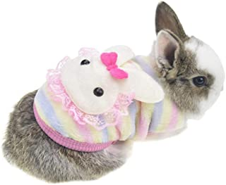 Winter Warm Fleece Bunny Rabbit Clothes Cute Small Animal Guinea Pig Chinchilla Ferret Angel Costume Accessories Outfit fo...