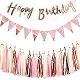 [page_title]-REYOK Rosa Gold Dekorationen Set für Geburtstag - Happy Birthday Banner Girlande, Wimpelkette Banner mit Papiergirlande Tassels Garland Kindergeburtstag deko Rosagold Party Supplies