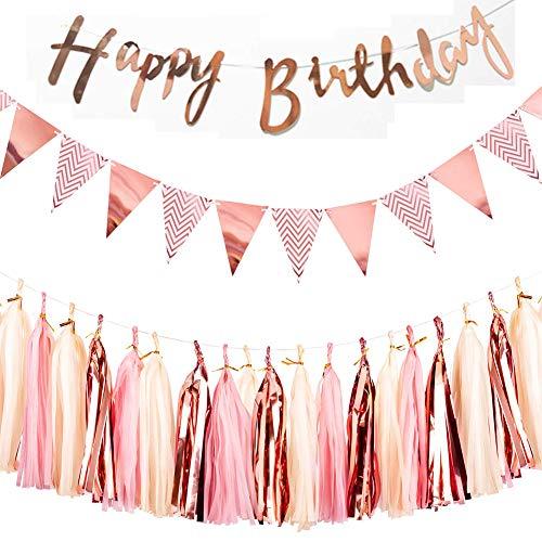REYOK Rosa Gold Dekorationen Set für Geburtstag - Happy Birthday Banner Girlande, Wimpelkette Banner mit Papiergirlande Tassels Garland Kindergeburtstag deko Rosagold Party Supplies