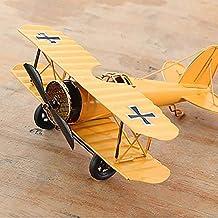 Vliegtuigmodel van smeedijzer, handgemaakt, vintage-stijl, geel