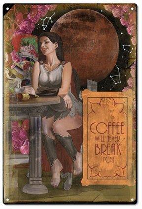 Norma Lily Kaffee kommt nie Sie Skurril Art Schild aus Metall, 12x 8Aluminium Schild.