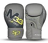 Starpro M33 Guantes de Boxeo de Cuero sintético Mate para Entrenamiento y Sparring en Muay Thai Kickboxing Fitness - Hombres y Mujeres - Negro y Verde - 8oz 10 oz 12 oz 14 oz 16 oz
