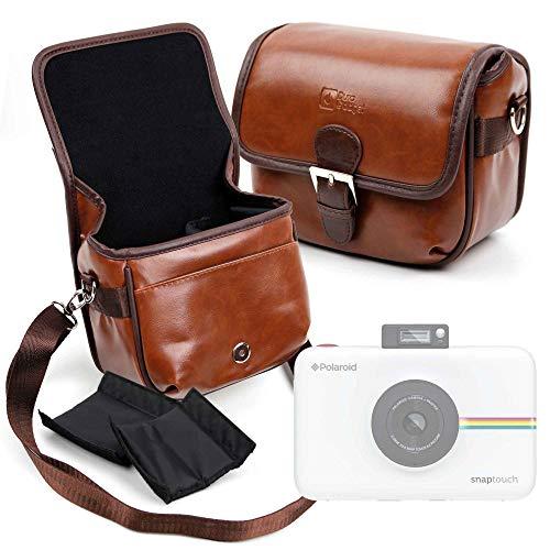 DURAGADGET Bolsa Profesional marrón con Compartimentos para Cámara Polaroid Snap Touch 2.0 Tamaño Mediano.