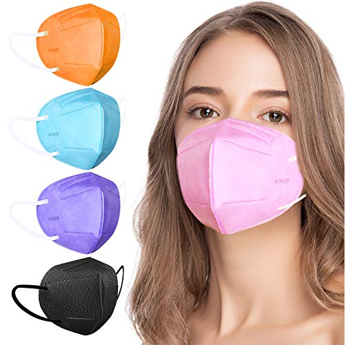 KN95 Face Masks, Disposable KN95 Masks Included on EUA List, Colorful Fashion Individually Wrapped Breathable Cup Dust Masks with Nose Wire for Women Men Teen Girls Adults, 5 Ply Layers Filter Efficiency≥95%, 20PCS