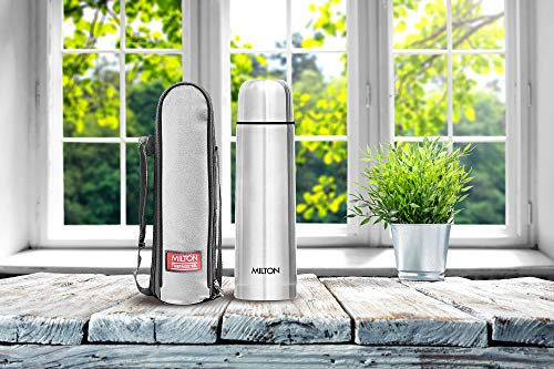 MILTON Flip Lid 500 Stainless Steel Water Bottle With Bag, 500ml, Set of 1, Silver