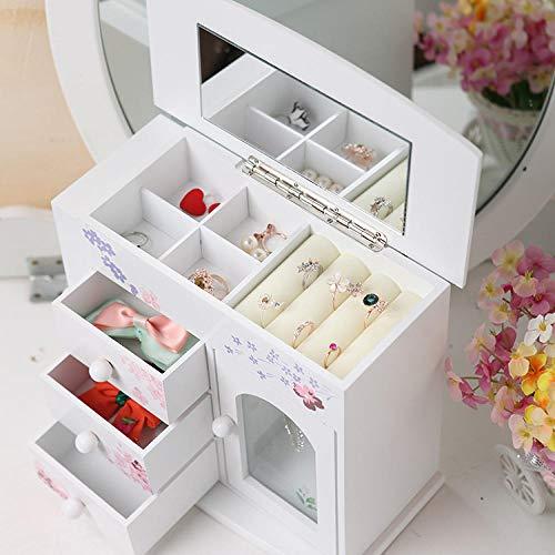QAZXS Cajas de Almacenamiento de joyería de Madera de Moda Decoración casera Creativa Cajas de joyería de Gran Capacidad Accesorios Pendientes Organizadores