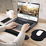 Keyboard Wrist Rest Mouse Pad with Wrist Support Set for Keyboard Wrist Pad with Ergonomic Mouse Pad with Gel Support Wrist Rest for PC Keyboard Rest and Gel Mouse Pad for Laptop Office Gaming 2 Pack
