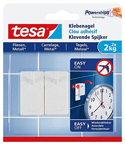 tesa® Klebenagel für Fliesen und Metall, spurlos wiederablösbar (2 kg / 3er Pack = 6 Nägel)