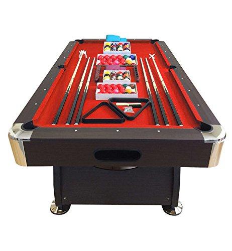 SIMBA Tavolo da Biliardo + Accessori per Carambola - Snooker Rosso Billiard Table 8 Piedi - Misura di Gioco 220 x 110 cm - 150 kg Nuovo