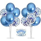 Balloon - Soporte de mesa transparente,Globos Claros Soporte Holder con 16 Globos,para globos de fiesta de cumpleaños y decoración de boda (azul)