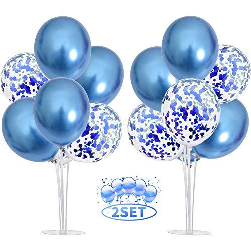2 Piezas Soporte de mesa transparente, Soporte para Globos Claros Soporte Holder con 16 Globos, para globos de fiesta de cumpleaños y decoración de boda (azul)