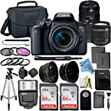 Canon EOS Rebel T7i DSLR Camera with 24.2MP Sensor, EF-S 18-55mm is STM & Tamron AF 70-300mm Lens Kit, 2 Pack SanDisk 64GB Memory Card + ZeeTech Accessory Bundle