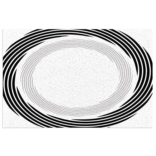 Hat&C Spires Decor Abstract Circular Element with Interlace Spinning Concentric Rings Simplistic Art Black Mats Non Slip Rubber Mat Floor Mats Kitchen Rugs Washable Light Door Mat