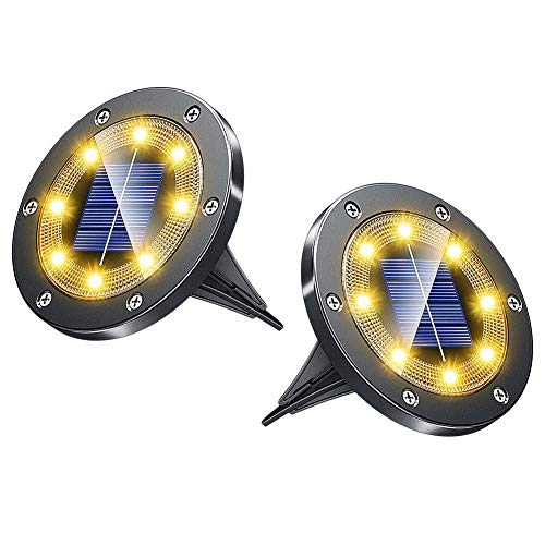 Biling Solar Lights Outdoor Grid Design Shell, Solar Powered Frosted Black Ground Lights Outdoor Waterproof, 8 LED Solar Disk Lights for Pathway Garden Yard Landscape Patio Lawn - Warm White (2 Pack)