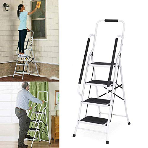GXXDM Foldable Non Slip 4 Step Ladder with Safety Handrail Rail, Strong Sturdy Steel, 150KG Max Capacity, 5 Year Warranty