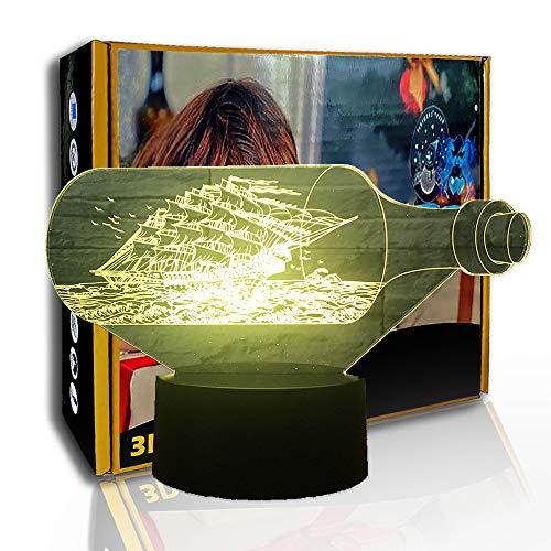 KangYD 3D Nachtlicht Black Pearl Schiffsboot, LED Visual Nachttischlampe, C - Berühren Sie Crack White (7 Farben), Kreatives Licht, Nachttischlampe, Neuheitslampe, Glücksgeschenk