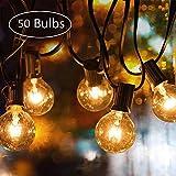 Lichterkette Außen, UOUNE G40 50er+5er 50FT Outdoor Lichterkette Glühbirnen - Wasserdicht Lichterkette Innen Aussen Strombetrieben Garten für...