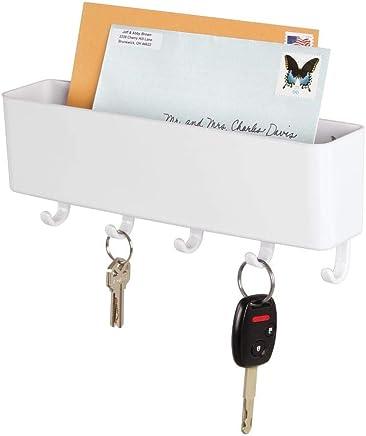 mDesign Schlüsselbrett mit Ablage – wandmontierte Schlüsselleiste mit Briefablage aus Kunststoff – ideal für ordentliche und platzsparende Aufbewahrung von Schlüsseln, Briefen, Prospekten – weiß