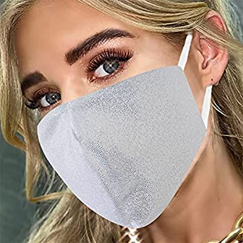 Sparkly Pure Cotton Face Cover Fashion Designer Glitter Cotton Mouth Masc With Adjustable Ear Loops Reusable Masquerade Party Nightclub Rave Festival Face Covering  Silver