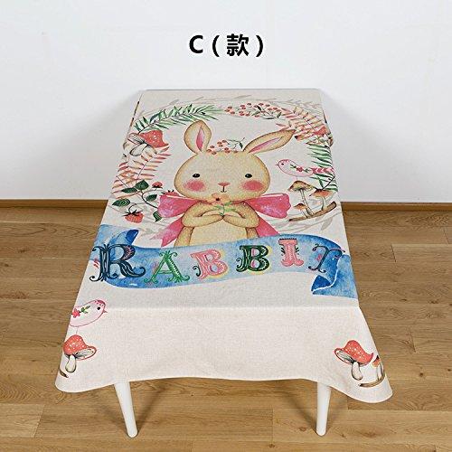 BLUELSS Cartoon animal coton lin et de modélisation pour Table de salle à manger Tables plateau table cloth,C,140x180cm