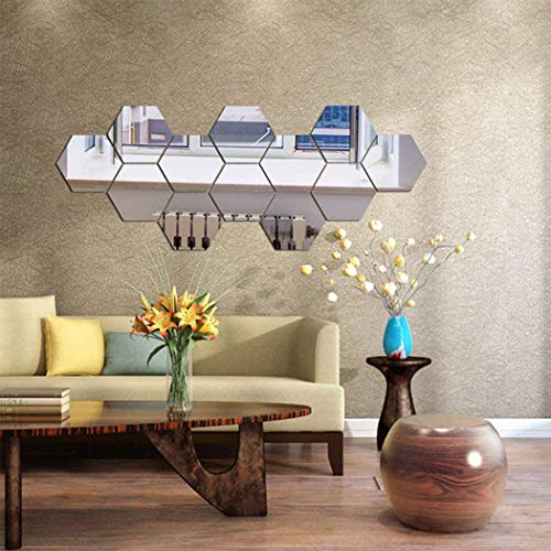 Moda Espejo pegatinas de pared, 12 unids hexágono espejo arte bricolaje hogar decorativo hexagonal acrílico espejo hoja de pared espejo plástico espejo azulejos para hogar sala de estar dormitorio sof