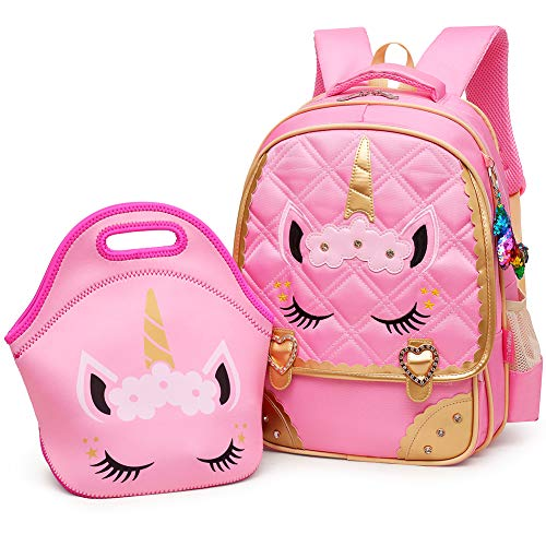 Moonmo Cute Unicorn Face Diamond Sequins Waterproof Princess School Backpack Set Girls Book Bag (Large, Pink Set)