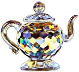 H&D HYALINE & DORA Crystal Teapot Figurine Chinese Collection Ornament Home Office Decor 1.7-Inch