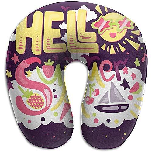Marlon Kitty Cute Hello Summer - Cojín con Forma de U, Almohadilla para el Cuello, Almohadilla, Unisex y Comodidad en los Viajes