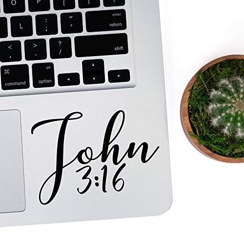"DKISEE - Adhesivo para portátil John 3 16 con texto en inglés ""John 3 16"", diseño de versos de la Biblia, texto de la Biblia, 5 pulgadas"