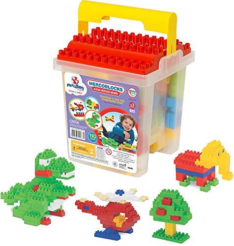 Brinquedo para Montar Balde com Blocos 110 Peças Merco Toys