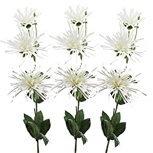 Lily Garden Spider Mum Artificial Flower 32″ Real Touch 9 Flowers Pack of 3 (Cream White)