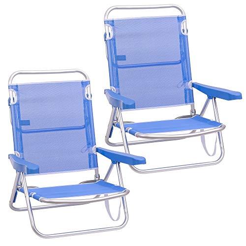 Pack de 2 sillas de Playa Convertibles en Cama de Aluminio y textileno (Azul)